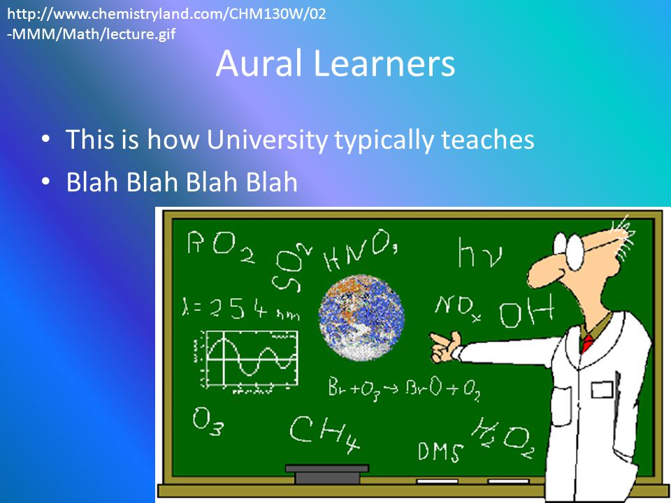 Teaching Aural Learners Just give them heaps of text and speech.
