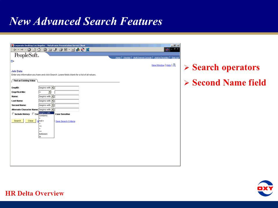HR Delta Overview Menu Pagelet Search Function  Search using words from page names  Search within results  Use Hide Summaries feature