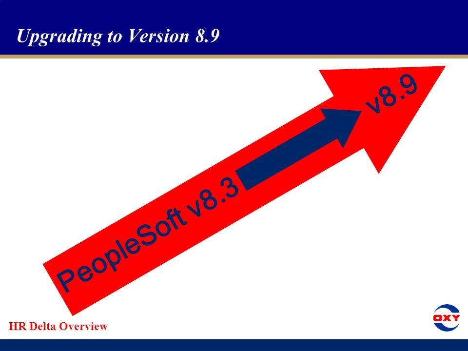 HR Delta Overview Upgrading to Version 8.9 PeopleSoft v8.3 v8.9