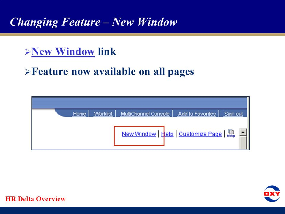 HR Delta Overview Changing Feature – New Window  New Window link  Feature now available on all pages