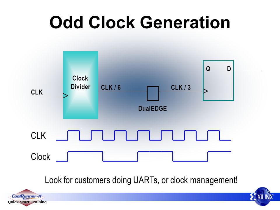Quick Start Training Odd Clock Generation Look for customers doing UARTs, or clock management.
