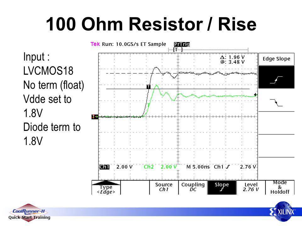 Quick Start Training 100 Ohm Resistor / Rise Input : LVCMOS18 No term (float) Vdde set to 1.8V Diode term to 1.8V