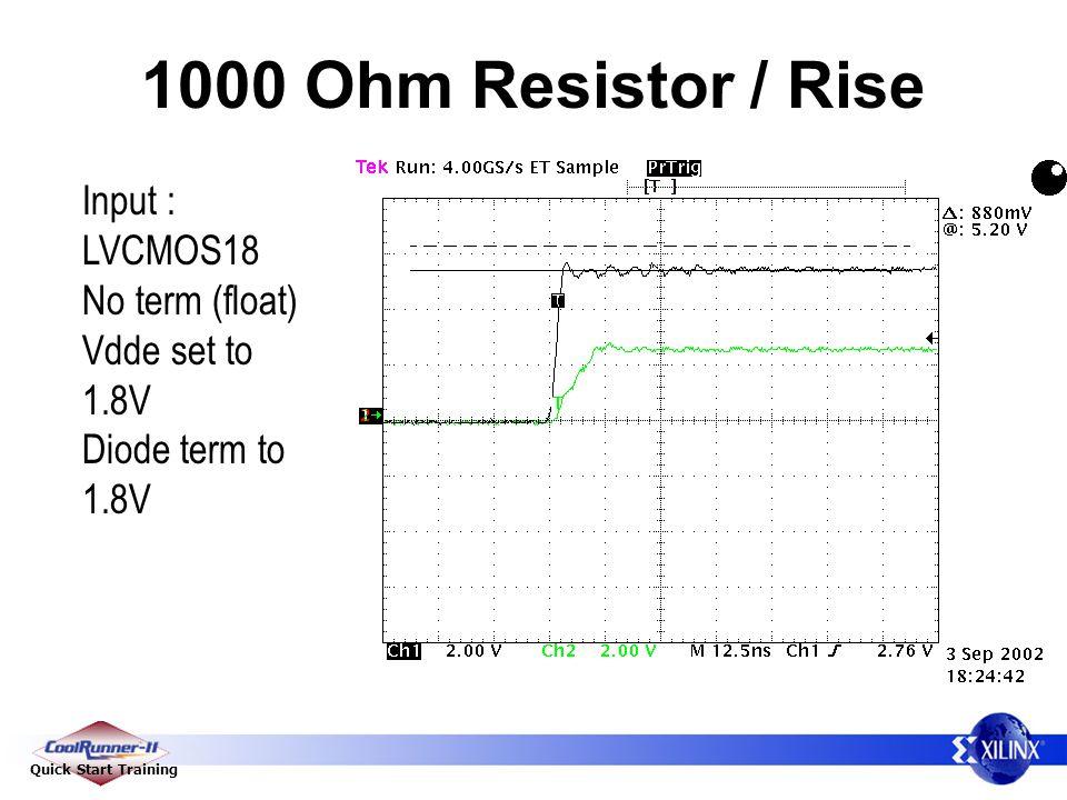 Quick Start Training 1000 Ohm Resistor / Rise Input : LVCMOS18 No term (float) Vdde set to 1.8V Diode term to 1.8V