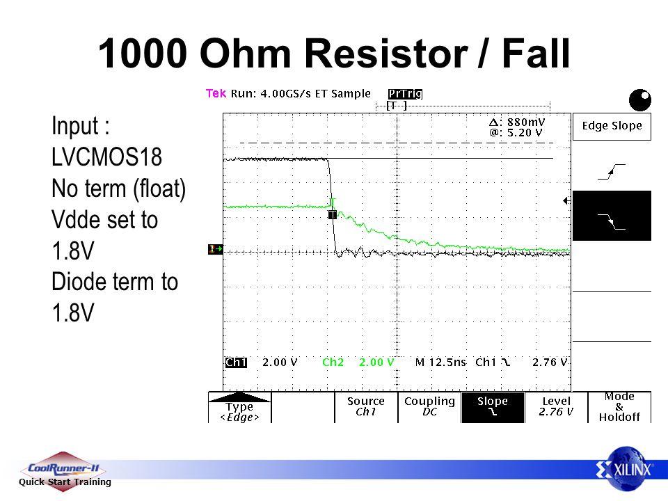 Quick Start Training 1000 Ohm Resistor / Fall Input : LVCMOS18 No term (float) Vdde set to 1.8V Diode term to 1.8V