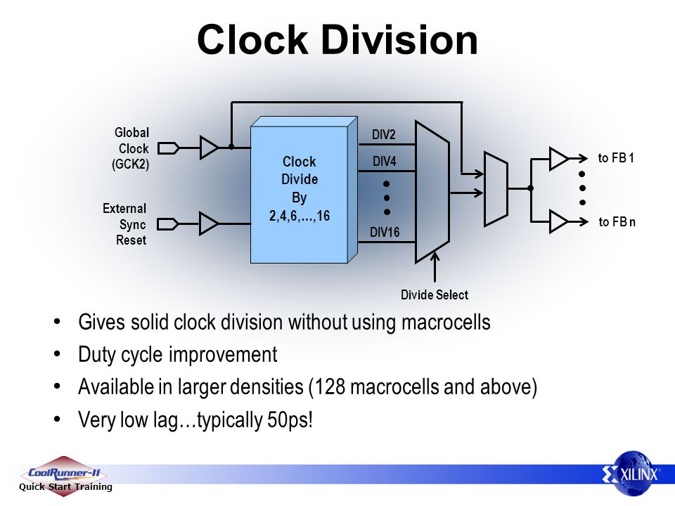 Quick Start Training Clock Division Global Clock (GCK2) External Sync Reset Clock Divide By 2,4,6,…,16 DIV2 DIV4 DIV16 to FB 1 to FB n Divide Select Gives solid clock division without using macrocells Duty cycle improvement Available in larger densities (128 macrocells and above) Very low lag…typically 50ps!