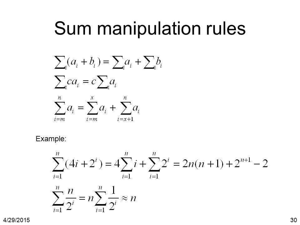 4/29/201530 Sum manipulation rules Example: