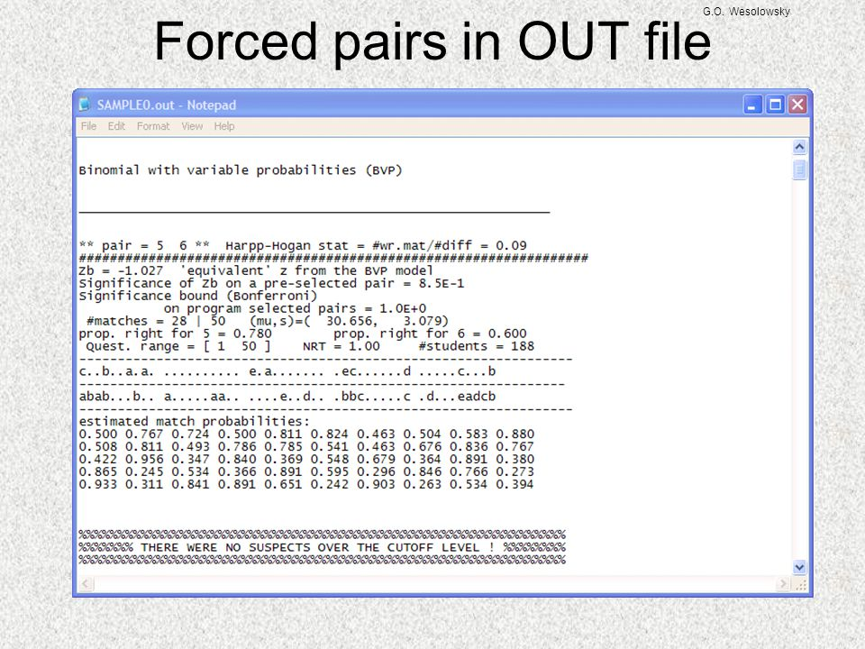 G.O. Wesolowsky Forced pairs in OUT file