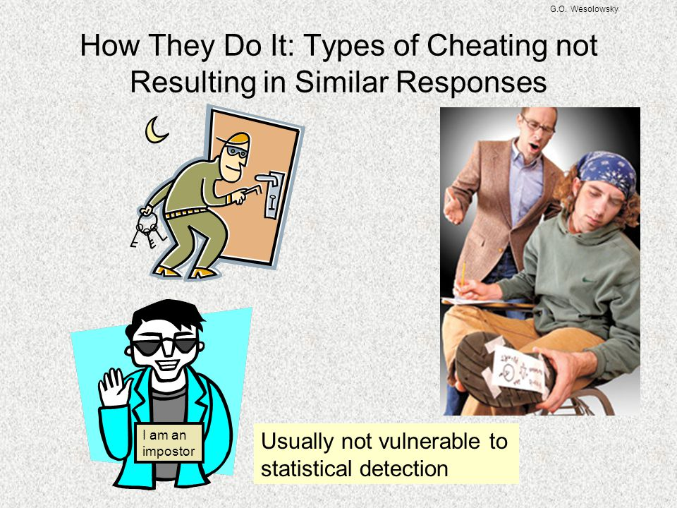 G.O. Wesolowsky How They Do It: Types of Cheating not Resulting in Similar Responses Usually not vulnerable to statistical detection I am an impostor