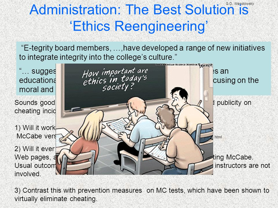 """G.O. Wesolowsky Administration: The Best Solution is 'Ethics Reengineering' """"E-tegrity board members, …,have developed a range of new initiatives to i"""