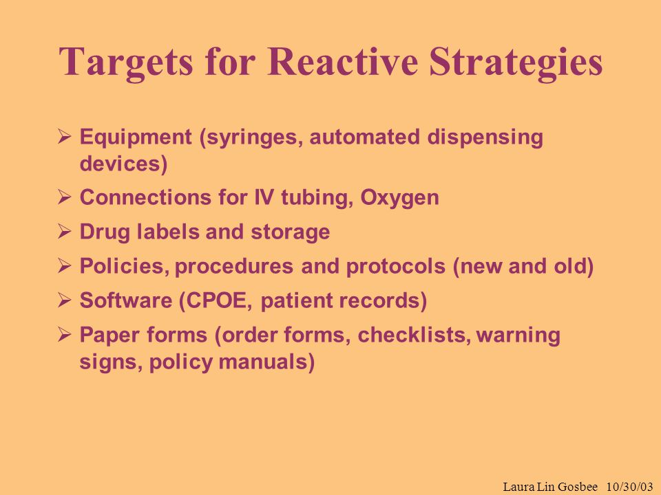 Laura Lin Gosbee 10/30/03 Targets for Reactive Strategies  Equipment (syringes, automated dispensing devices)  Connections for IV tubing, Oxygen  D