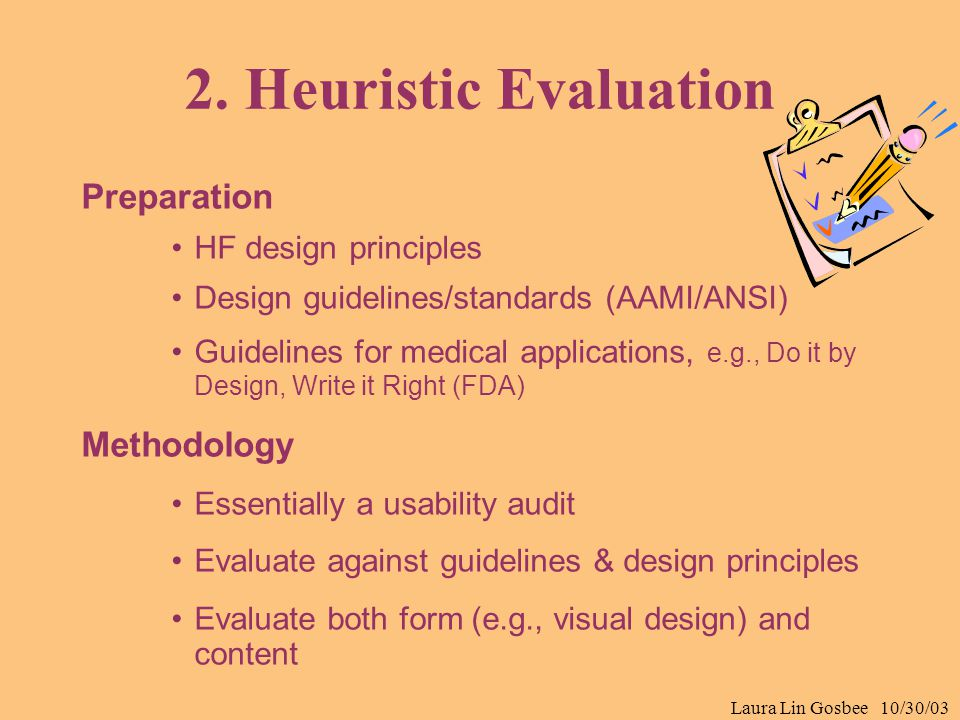 Laura Lin Gosbee 10/30/03 2. Heuristic Evaluation Preparation HF design principles Design guidelines/standards (AAMI/ANSI) Guidelines for medical appl