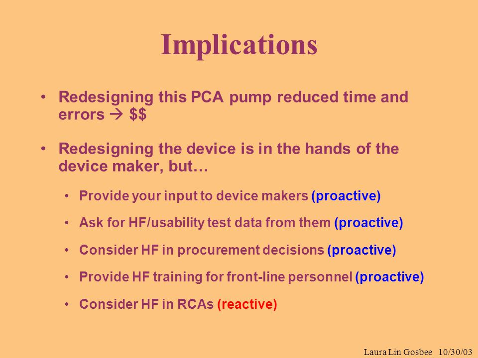 Laura Lin Gosbee 10/30/03 Implications Redesigning this PCA pump reduced time and errors  $$ Redesigning the device is in the hands of the device mak