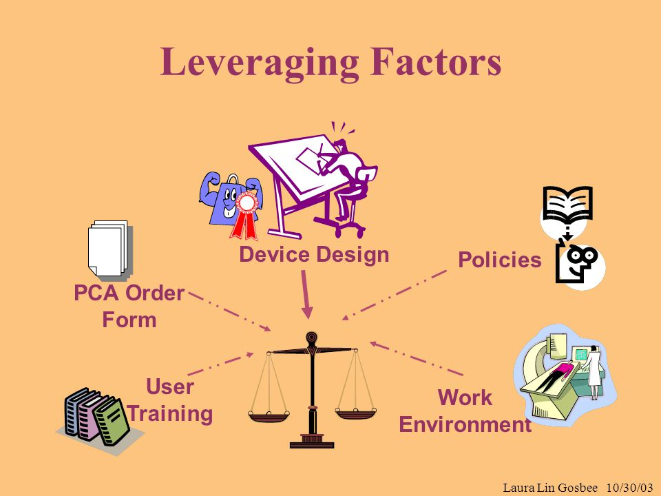 Laura Lin Gosbee 10/30/03 Leveraging Factors Device Design User Training Work Environment Policies PCA Order Form
