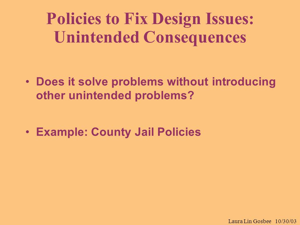 Laura Lin Gosbee 10/30/03 Policies to Fix Design Issues: Unintended Consequences Does it solve problems without introducing other unintended problems?