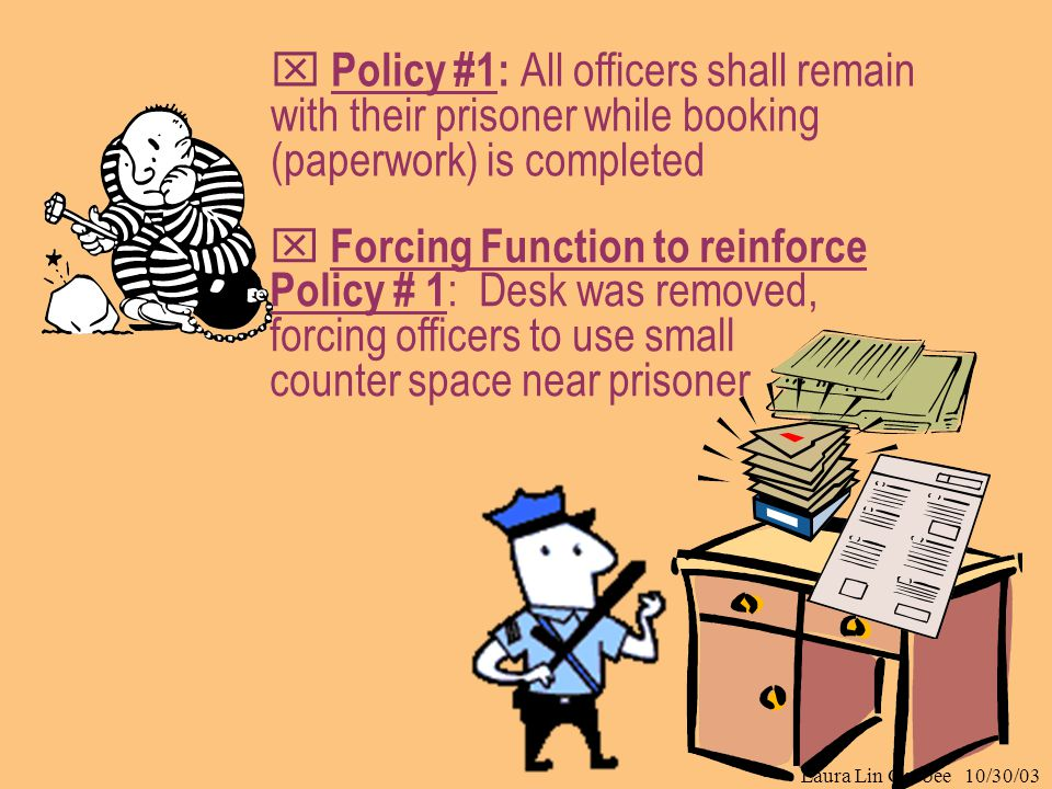 Laura Lin Gosbee 10/30/03  Forcing Function to reinforce Policy # 1 : Desk was removed, forcing officers to use small counter space near prisoner  P
