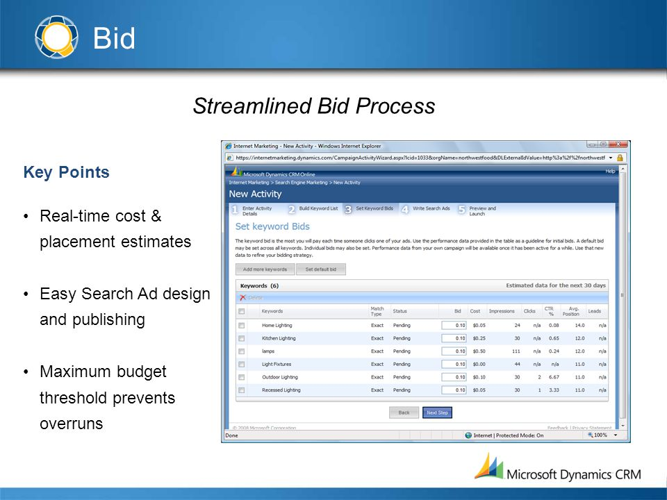 Streamlined Bid Process Key Points Real-time cost & placement estimates Easy Search Ad design and publishing Maximum budget threshold prevents overruns Bid