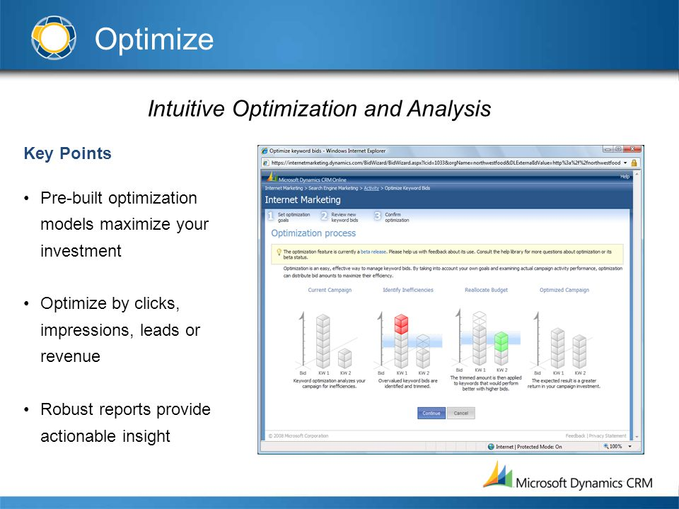 Intuitive Optimization and Analysis Key Points Pre-built optimization models maximize your investment Optimize by clicks, impressions, leads or revenu