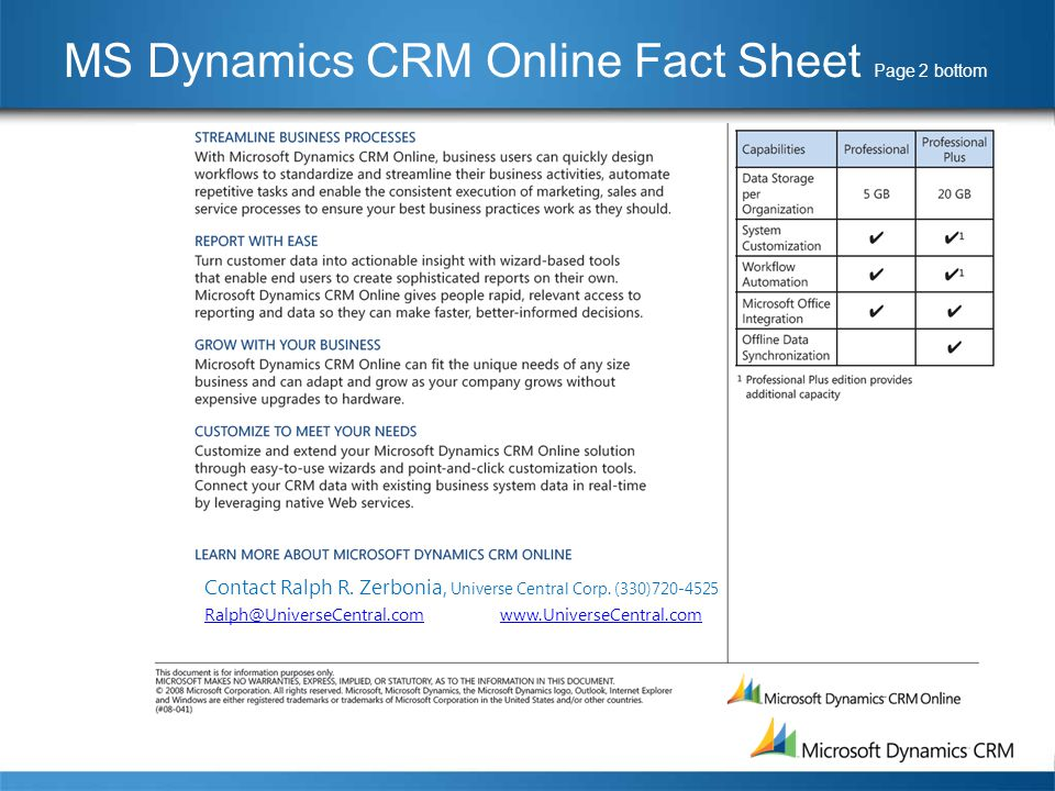 MS Dynamics CRM Online Fact Sheet Page 2 bottom Contact Ralph R.
