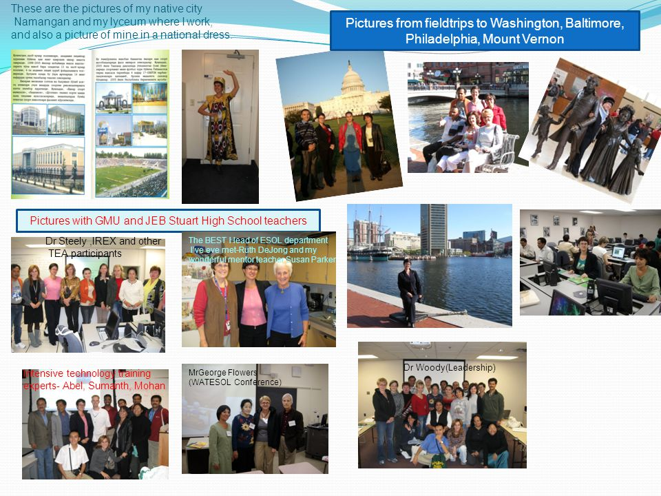 These are the pictures of my native city Namangan and my lyceum where I work, and also a picture of mine in a national dress.