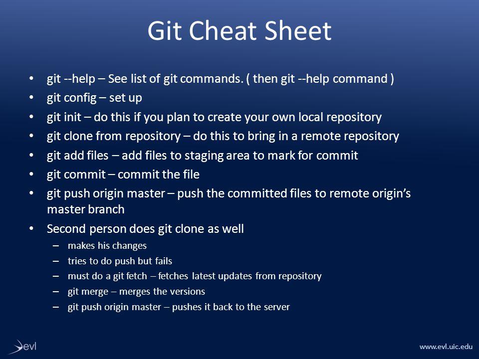 www.evl.uic.edu Git Cheat Sheet git --help – See list of git commands.