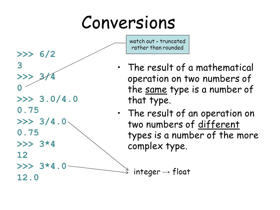 Formatting numbers The % operator formats a number.