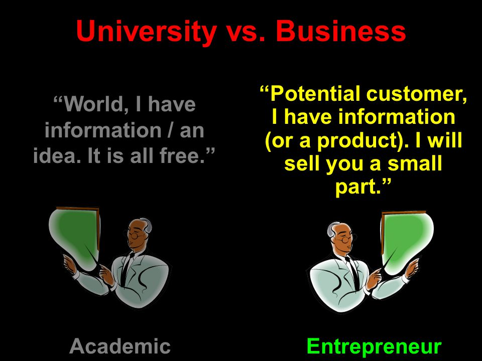 University vs. Business Potential customer, I have information (or a product).