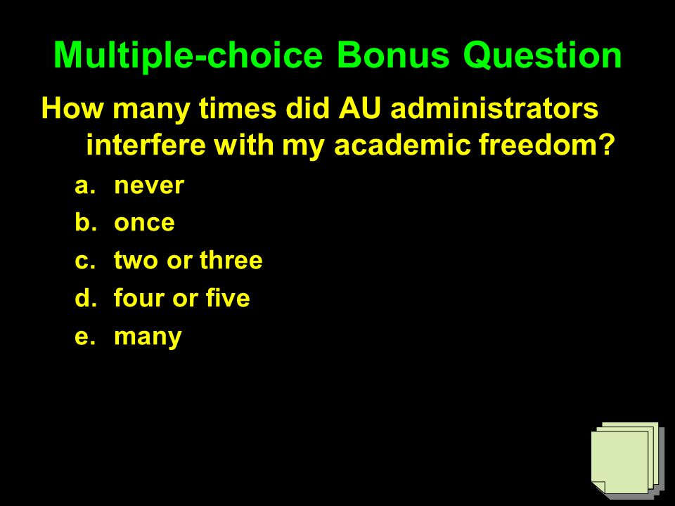 Multiple-choice Bonus Question How many times did AU administrators interfere with my academic freedom.