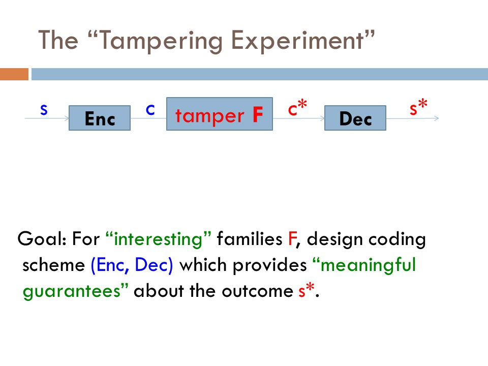 The Tampering Experiment Goal: For interesting families F, design coding scheme (Enc, Dec) which provides meaningful guarantees about the outcome s*.