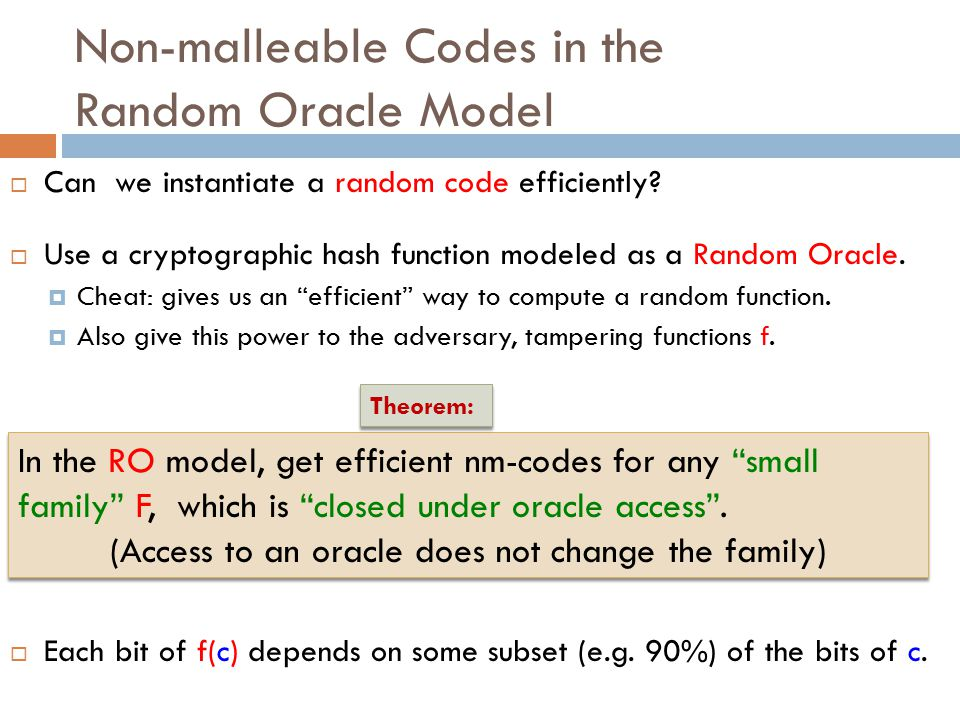 Non-malleable Codes in the Random Oracle Model  Can we instantiate a random code efficiently.