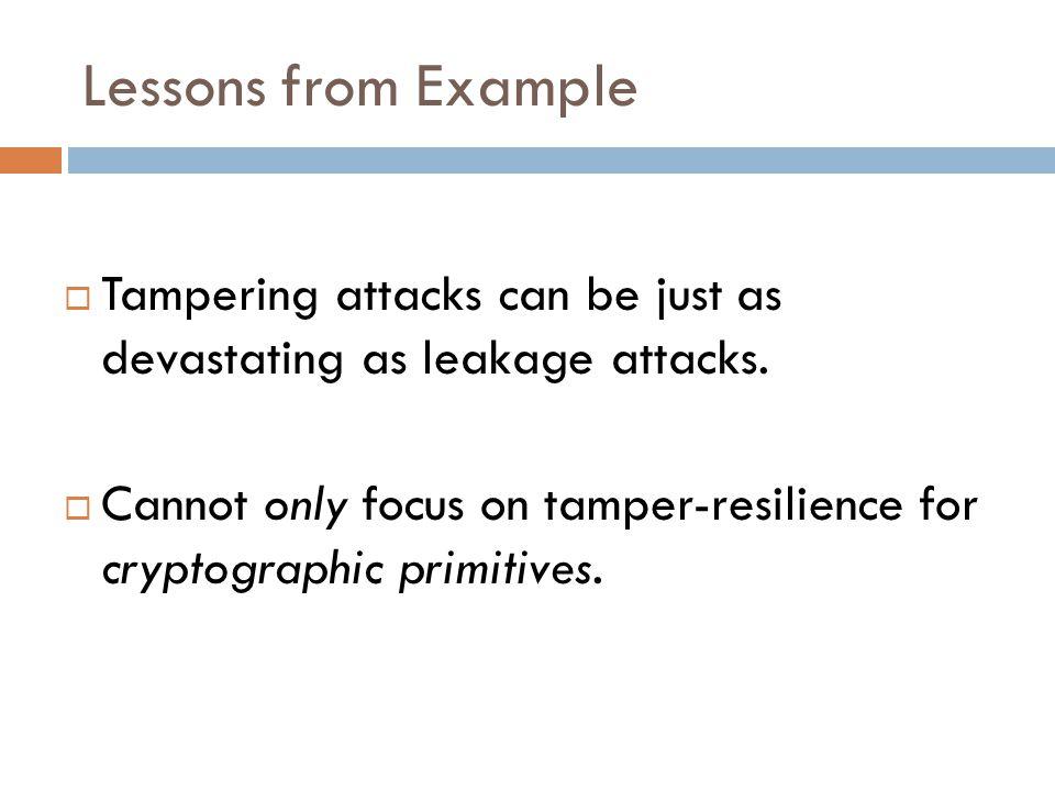 Tamper-Resilient Security Circuit G' c = Enc(s) Decode s= Dec(c).