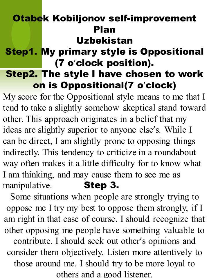 Otabek Kobiljonov self-improvement Plan Uzbekistan Step1.