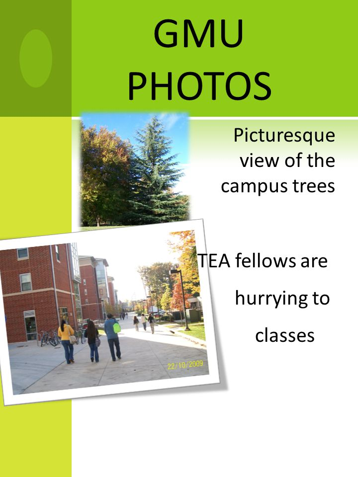 GMU PHOTOS Picturesque view of the campus trees TEA fellows are hurrying to classes