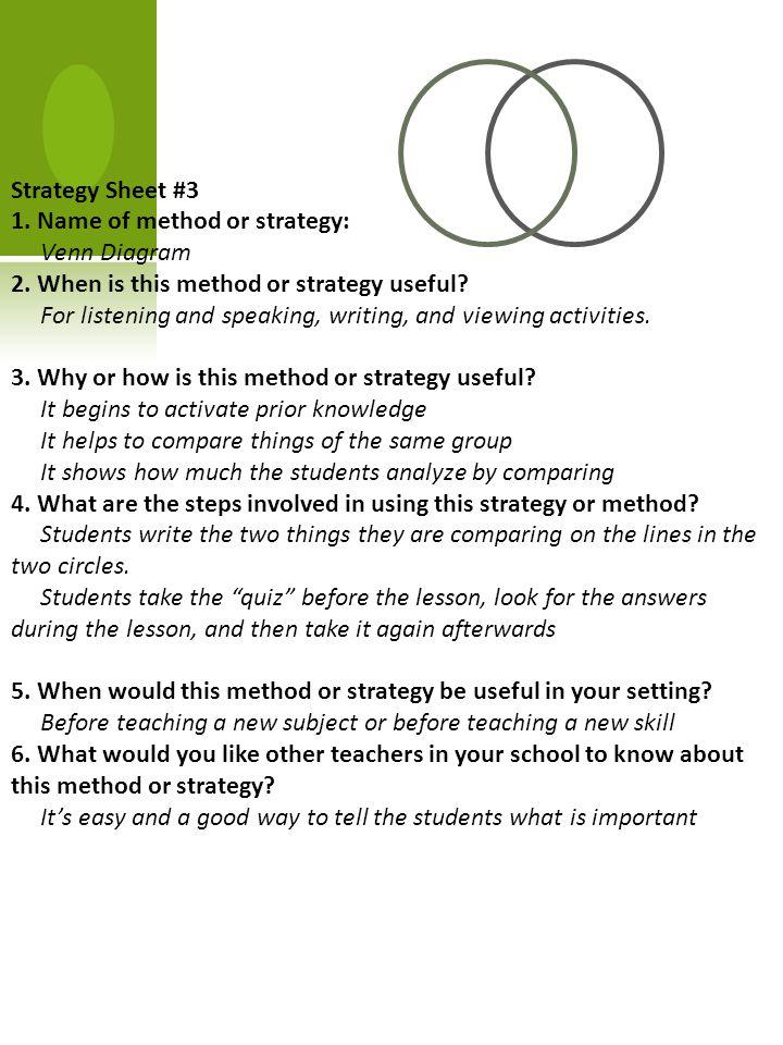 Strategy Sheet #3 1. Name of method or strategy: Venn Diagram 2.