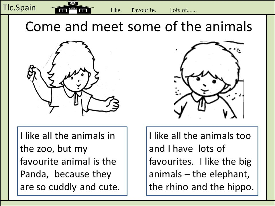 Tlc.Spain Like. Favourite. Lots of……. Come and meet some of the animals I like all the animals in the zoo, but my favourite animal is the Panda, becau