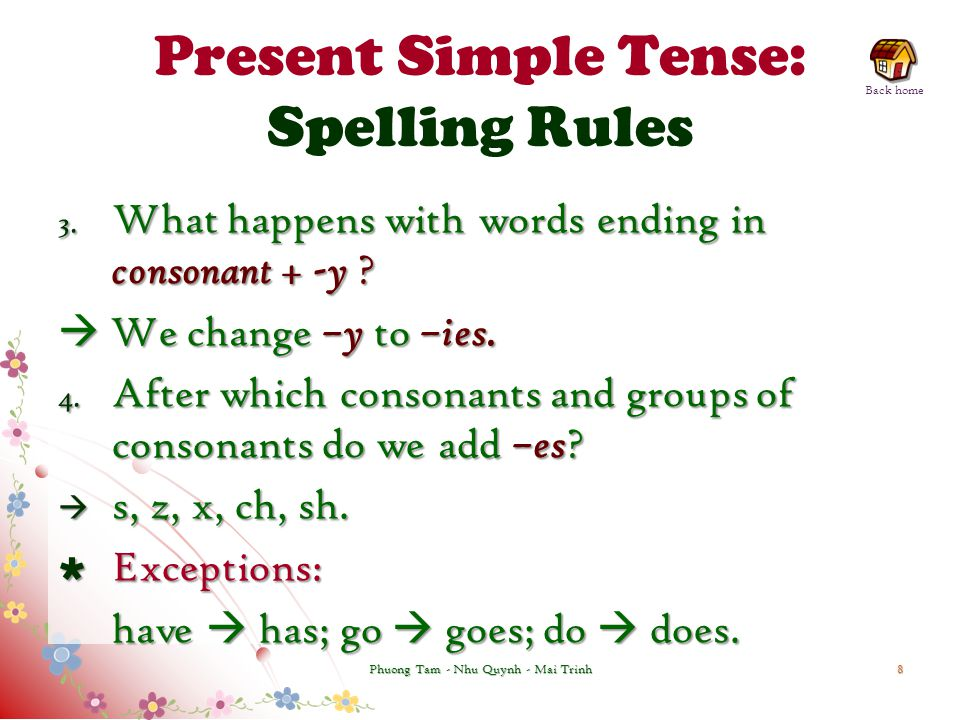 Present Simple Tense: Spelling Rules 3. What happens with words ending in consonant + -y ?  We change –y to –ies. 4. After which consonants and group