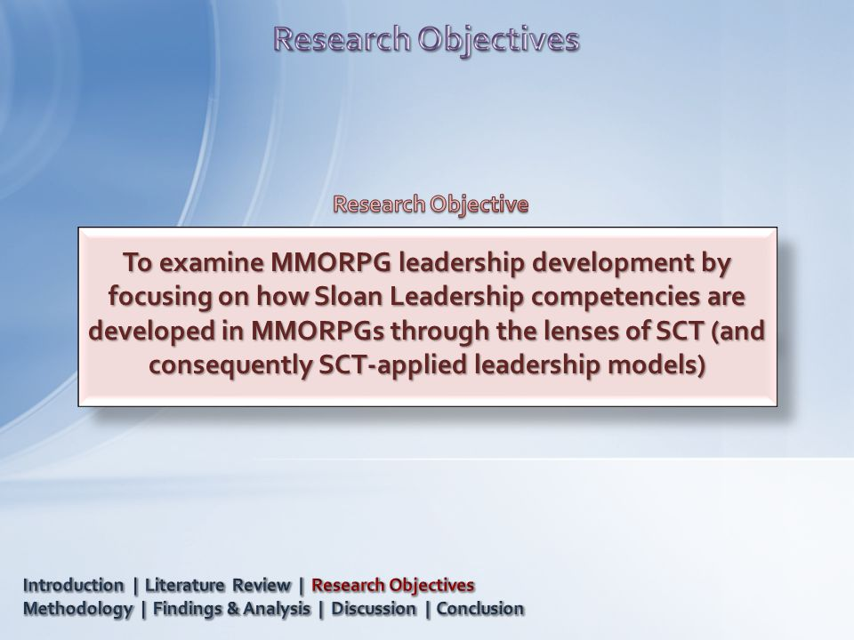 To examine MMORPG leadership development by focusing on how Sloan Leadership competencies are developed in MMORPGs through the lenses of SCT (and consequently SCT-applied leadership models)
