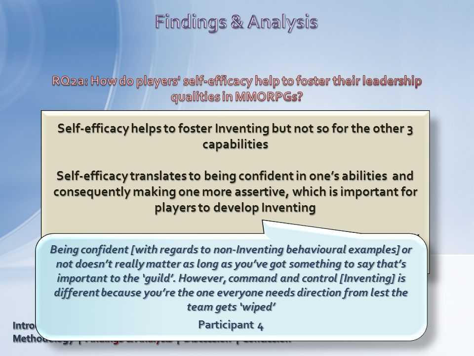 Self-efficacy helps to foster Inventing but not so for the other 3 capabilities Self-efficacy translates to being confident in one's abilities and con