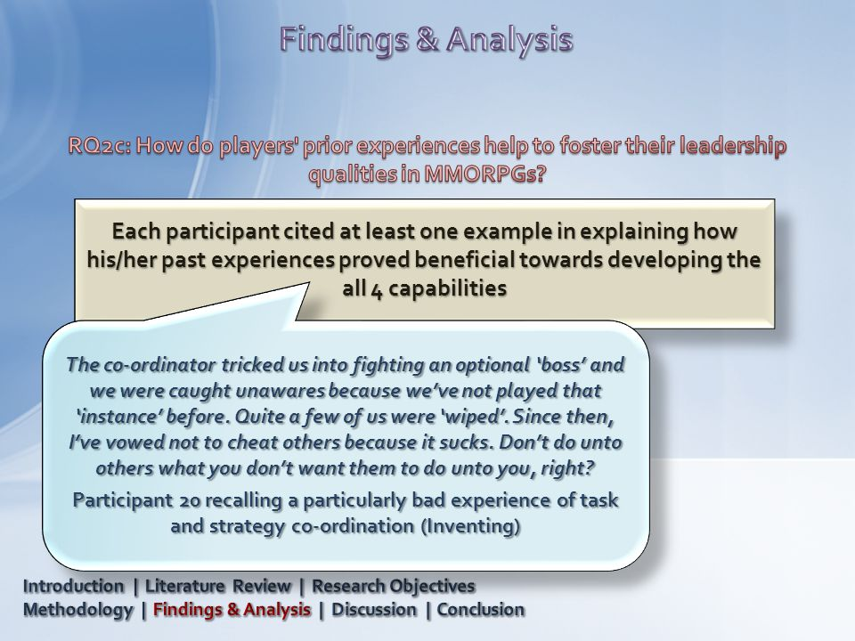 Each participant cited at least one example in explaining how his/her past experiences proved beneficial towards developing the all 4 capabilities The co-ordinator tricked us into fighting an optional 'boss' and we were caught unawares because we've not played that 'instance' before.