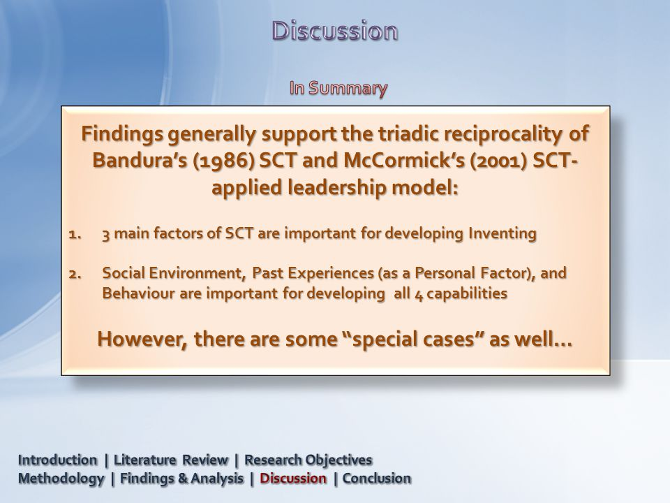 Findings generally support the triadic reciprocality of Bandura's (1986) SCT and McCormick's (2001) SCT- applied leadership model: 1.3 main factors of