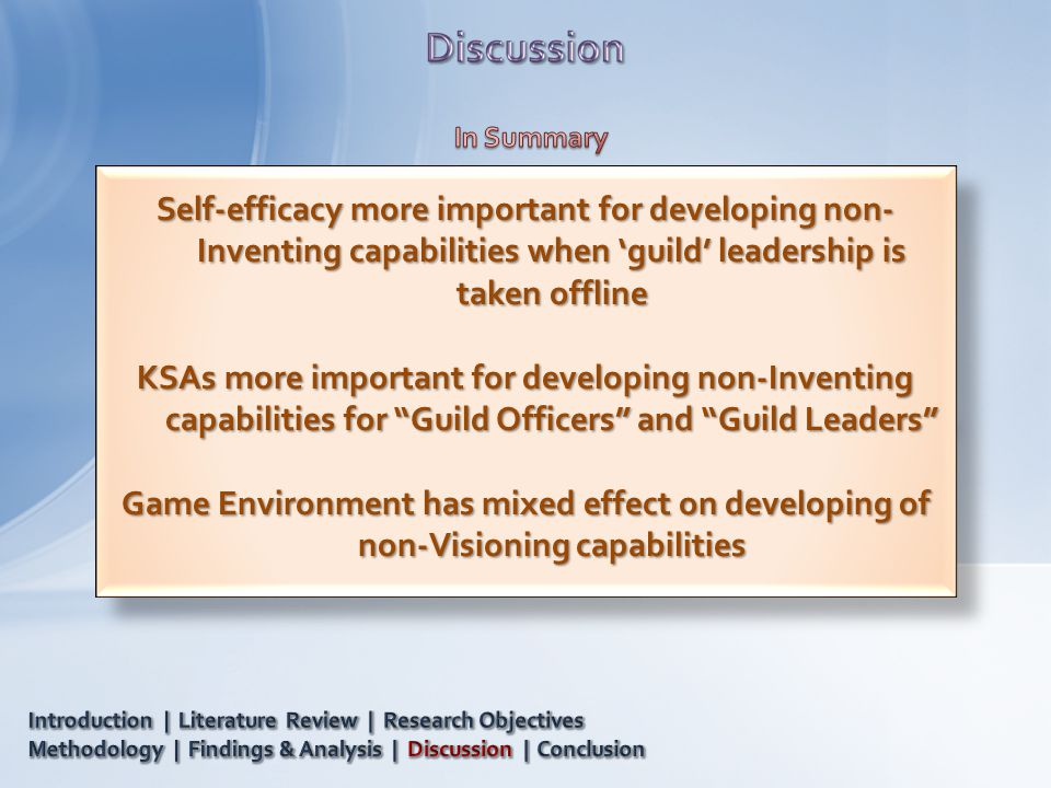 Self-efficacy more important for developing non- Inventing capabilities when 'guild' leadership is taken offline KSAs more important for developing non-Inventing capabilities for Guild Officers and Guild Leaders Game Environment has mixed effect on developing of non-Visioning capabilities Self-efficacy more important for developing non- Inventing capabilities when 'guild' leadership is taken offline KSAs more important for developing non-Inventing capabilities for Guild Officers and Guild Leaders Game Environment has mixed effect on developing of non-Visioning capabilities