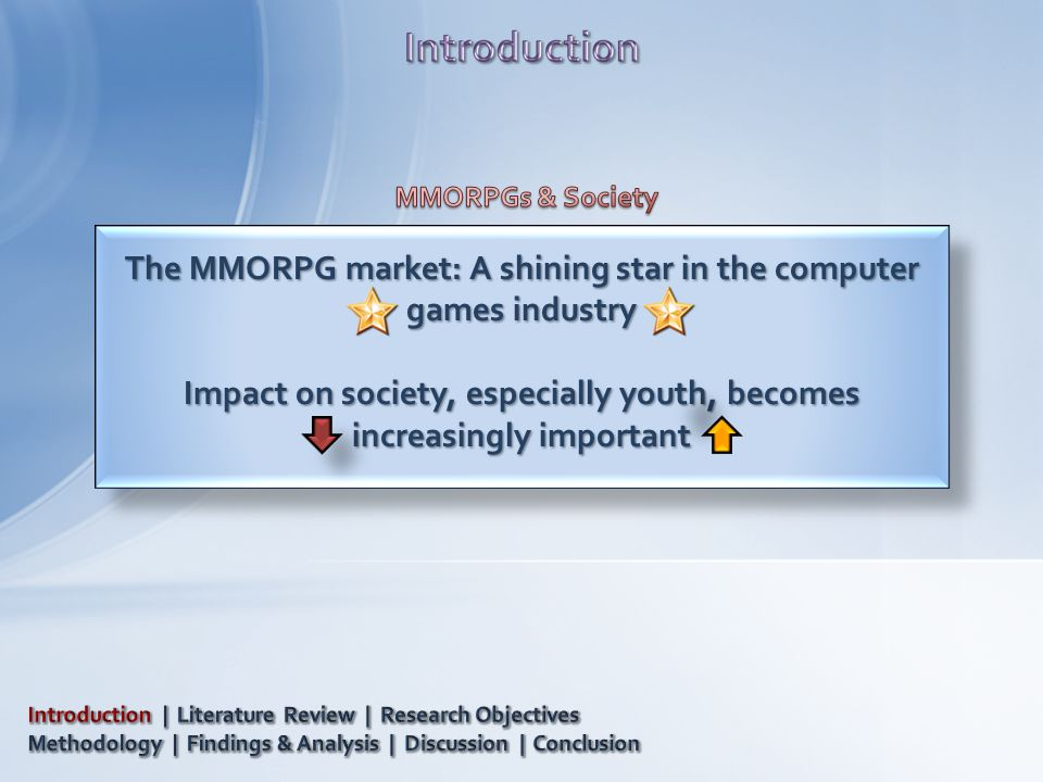 The MMORPG market: A shining star in the computer games industry Impact on society, especially youth, becomes increasingly important The MMORPG market