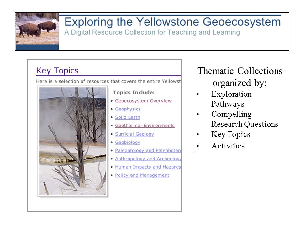Thematic Collections organized by: Exploration Pathways Compelling Research Questions Key Topics Activities