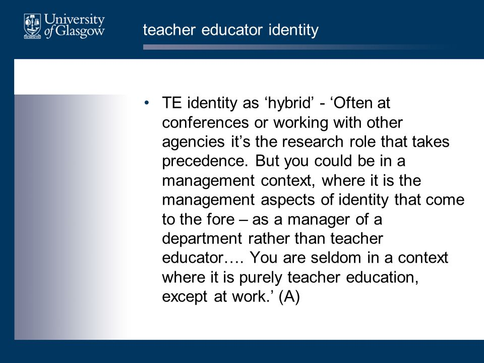teacher educator identity TE identity as 'hybrid' - 'Often at conferences or working with other agencies it's the research role that takes precedence.