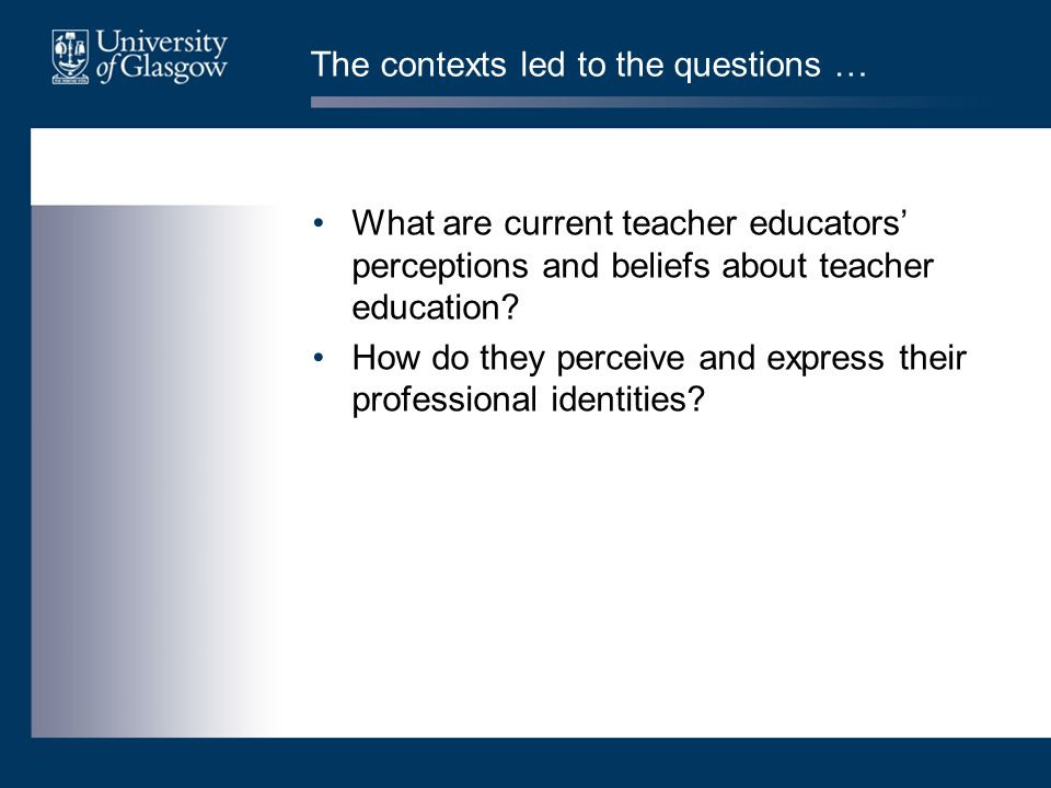 Outline of project two main strands: –to develop a typology of conceptions of teacher education –to develop the findings from previous research into the identity of novice teacher educators ethical considerations –advantages and dangers of 'insider research' (Goodson and Sikes, 2001; Sikes and Potts, 2008) data source –teacher educators currently working in the School of Education – approximately 40 volunteers