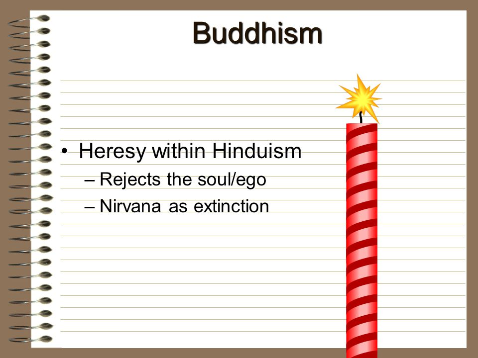 Buddhism Heresy within HinduismHeresy within Hinduism –Rejects the soul/ego –Nirvana as extinction