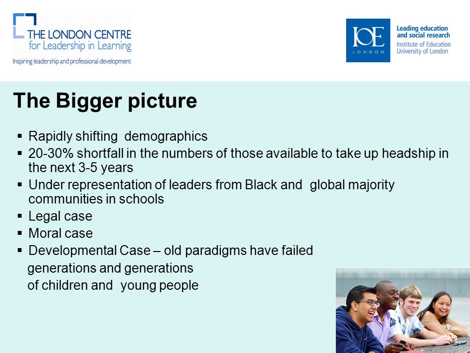 The Bigger picture  Rapidly shifting demographics  20-30% shortfall in the numbers of those available to take up headship in the next 3-5 years  Un