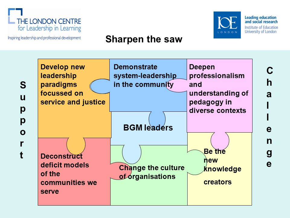 SupportSupport ChallengeChallenge Sharpen the saw Develop new leadership paradigms focussed on service and justice Demonstrate system-leadership in the community Deepen professionalism and understanding of pedagogy in diverse contexts Deconstruct deficit models of the communities we serve Be the new knowledge creators BGM leaders Change the culture of organisations