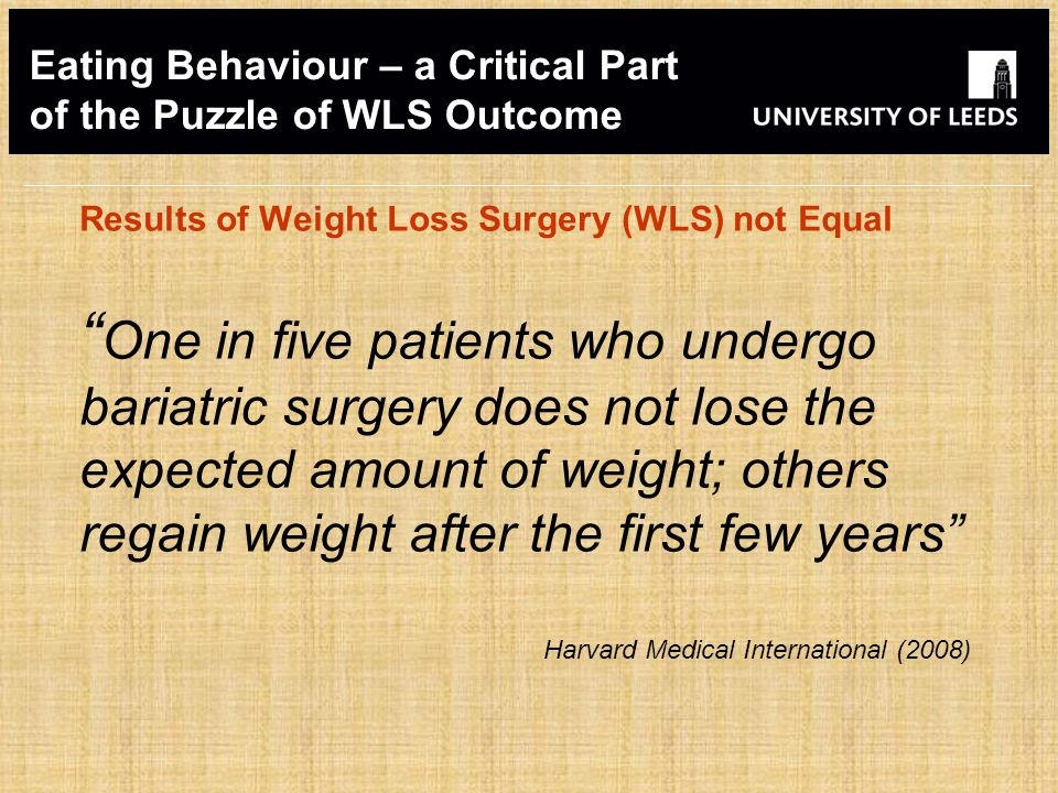 Eating Behaviour – a Critical Part of the Puzzle of WLS Outcome Results of Weight Loss Surgery (WLS) not Equal One in five patients who undergo bariatric surgery does not lose the expected amount of weight; others regain weight after the first few years Harvard Medical International (2008)
