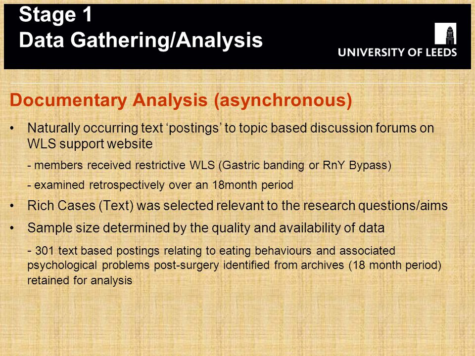 Stage 1 Data Gathering/Analysis Documentary Analysis (asynchronous) Naturally occurring text 'postings' to topic based discussion forums on WLS support website - members received restrictive WLS (Gastric banding or RnY Bypass) - examined retrospectively over an 18month period Rich Cases (Text) was selected relevant to the research questions/aims Sample size determined by the quality and availability of data - 301 text based postings relating to eating behaviours and associated psychological problems post-surgery identified from archives (18 month period) retained for analysis