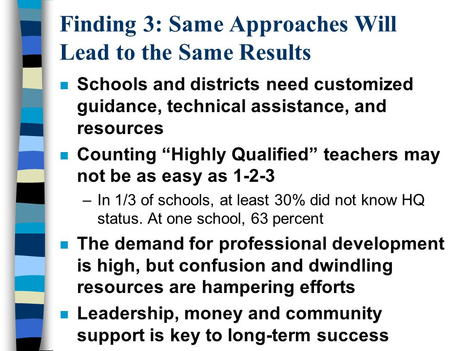 Finding 3: Same Approaches Will Lead to the Same Results n Schools and districts need customized guidance, technical assistance, and resources n Counting Highly Qualified teachers may not be as easy as 1-2-3 –In 1/3 of schools, at least 30% did not know HQ status.